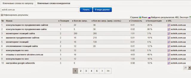 Отчет по поисковым запросам в Prodvigator.UA